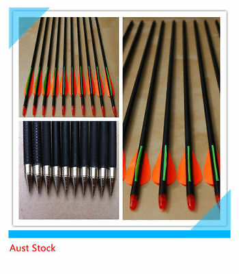 "50 x 32"" Fiberglass Arrows 15-60LB Hunting Target Recurve Compound Bow Arrows"