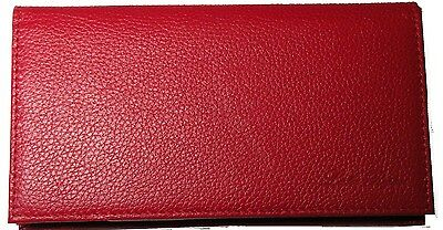 REAL Full Grain Leather Checkbook Cover -  Candy Apple Red  Check Wallet