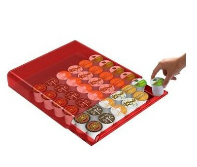 Mind Reader Coffee Pod Drawer Holds 36 k-Cup or 42 CBTL Verisimo Coffee Pods Red