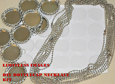 """20 DIY KIT! 20- Flat Bottlecaps, 20- 1"""" Epoxy, 20- Ball chain necklaces(24 in)"""
