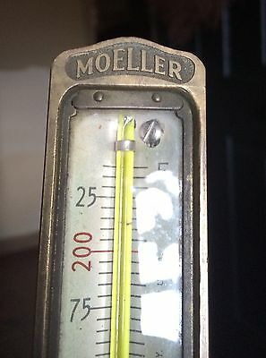 Vintage Brass Moeller Instrument Co 240 Degree Industrial Thermometer