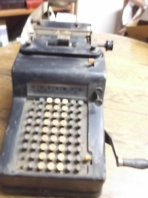 #3 of 3, OLD VTG ANTIQUE ADDING MACHINE UNKNOWN MAKER, APPEARS TO BE COMPELTE