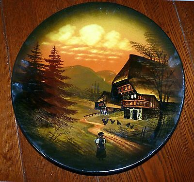 """Vintage Hand-Painted MAJOLICA SCHRAMBERG 11"""" Decorative Hanging Wall Plate"""
