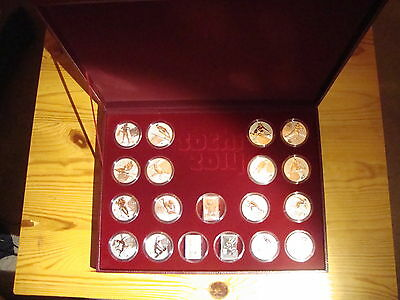 Russia 3 rubles 2011-2013 FULL SET 19 coins Sochi 2014 Series in wooden case
