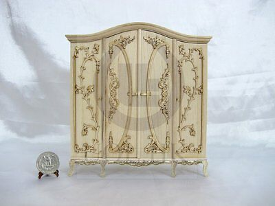 "1"" Scale Miniature Luxurious Wardrobe For Doll House [Unpainted]"