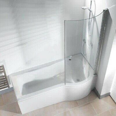 P Shape Shower Bath 1500 1675 1700mm with Screen Left or Right Hand Bathroom
