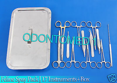 Feline Spay Pack | 17 Instruments+Box Stainless Steel Veterinary