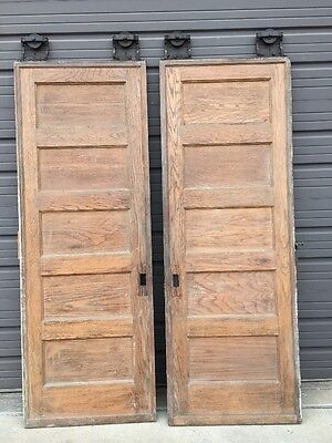 D 203 1 Pair Oak Flat Panel Pocket Doors Wheels But No Tracking