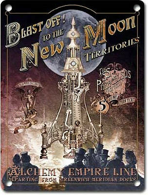 Blast off! New Moon Rocket Steampunk Gothic Alchemy Empire Medium Metal Tin Sign