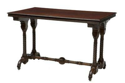 Unusual Arts And Crafts 19Th Century Carved Walnut Library Table