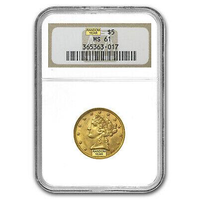 $5 Liberty Gold Half Eagle Coin - Random Year - MS-61 NGC - SKU #23204