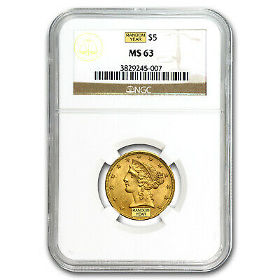 $5 Liberty Gold Half Eagle MS-63 NGC - SKU #1128