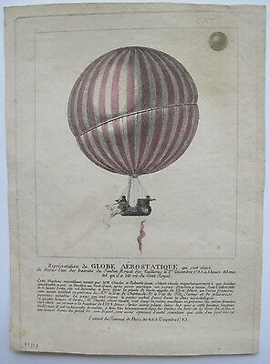 1783 FIRST SCIENTIFIC FLIGHT / FIRST MANNED HYDROGEN BALLOON FLIGHT - Broadside
