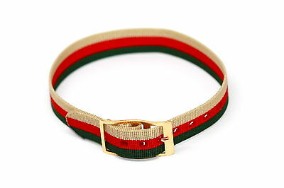12Mm Tan Red Green Striped Nylon One Piece Slip Thru Active Watch Band Strap