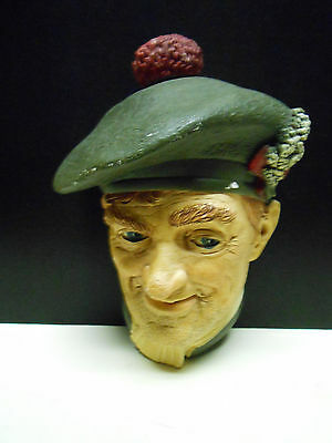 "Bossons Chalkware Heads    Bossons GT Britain    ""JOCK""   1969   RARE   England"