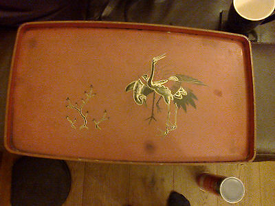 Vintage Rectangular Tray 38Cm Featuring Birds Not Sure Of Type Oriental