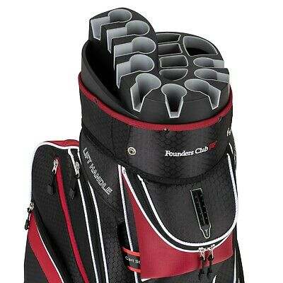 Founders Club Premium Cart Bag with 14 Way Organizer Top - Red