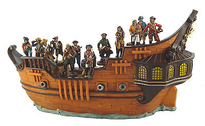 Polyresin Boys Pirate Ship Display & 24 Assorted Pirate Figures Ornaments