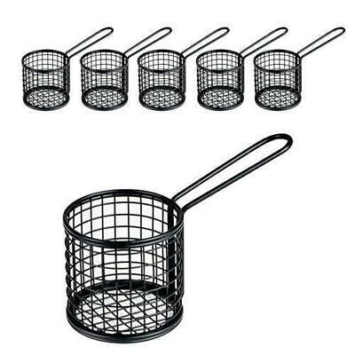 6x Fryer Style Serving Basket 80x84mm Round, Black, Chips / Fries / Sides /Tapas