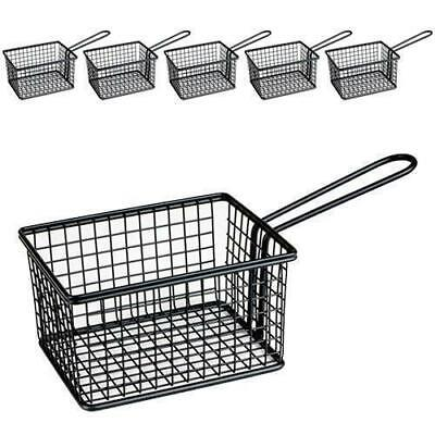 6x Fryer Style Serving Basket 142x114mm, Black, Chips / Fries / Sides / Tapas
