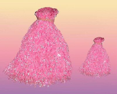 """Set Of  2 Pink Glass Belly Dance Beaded Fringe (40""""x8"""")  & (40""""x4"""")"""