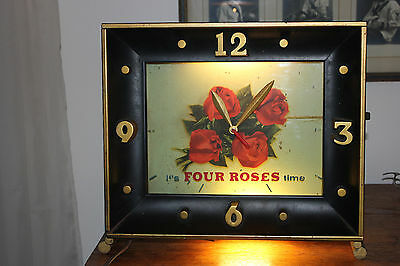 Vintage Four Roses Wall Clock/ Light - In Working Order