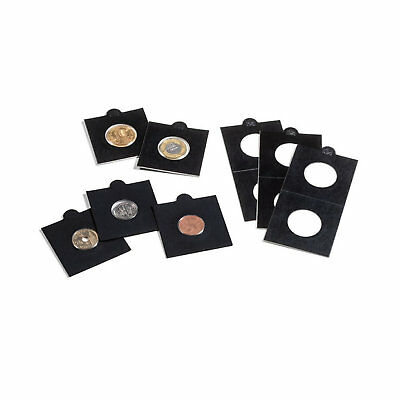 """Lighthouse BLACK 39.5mm Self Adhesive 2""""x2"""" MATRIX Coin Holders x 25- Suit Crown"""