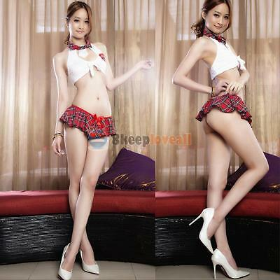 Women Sexy Plaid Adult School Girl Outfit Cosplay Costume Fancy Dress Lingerie