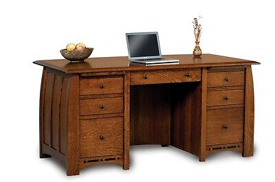 Amish Executive Computer Desk Solid Wood Furniture Office Den File Storage New
