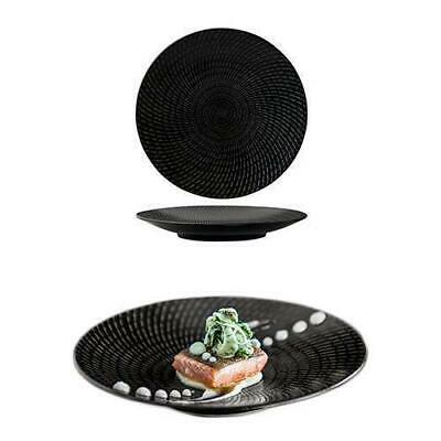 6x Round Coupe Plate, Black Swirl, 205mm, Luzerne 'Zen', Commercial Quality