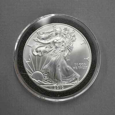 2010 SILVER AMERICAN EAGLE 1 OZ, UNCIRCULATED in CLEAR CAPSULE