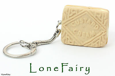 Polymer Clay Custard Cream Biscuit Silver Plated Keyring Key Chain Food Retro