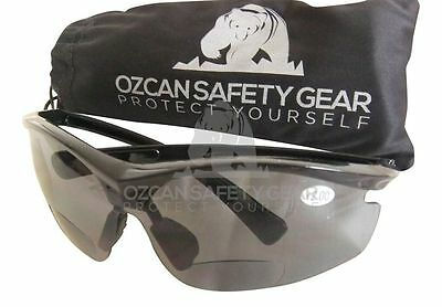 Bifocal Safety Glasses Smoke Lens Readers Reading Power Magnifier +1.50 +2.00