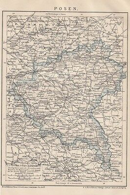 1895 POSEN Original Alte Landkarte Karte Antique Map Stich