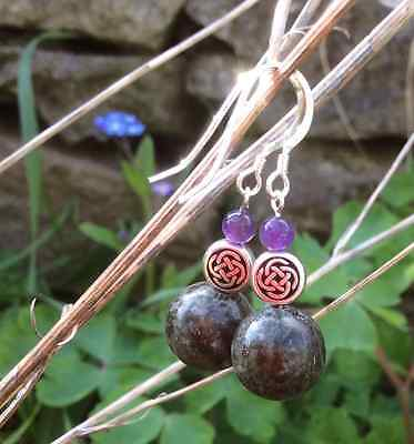 Connemara marble and amethyst celtic,earrings. Sterling silver wires.Irish gifts