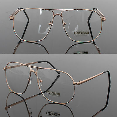 mens womens retro metal frame clear lens aviator driving designer glasses gold
