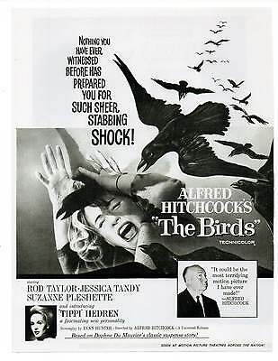 """ALFRED HITCHCOCK'S THE BIRDS MOVIE AD Repro 1960's Advertisement Art 8.5"""" x 6.5"""""""