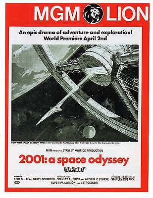 """2001 A SPACE ODYSSEY AD, Repro 1960's Advertisement, 8.5"""" x 6.5"""""""