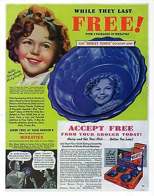 """SHIRLEY TEMPLE WHEATIES AD Repro 30's Advertisement Art for Framing 7.75"""" x 10"""""""