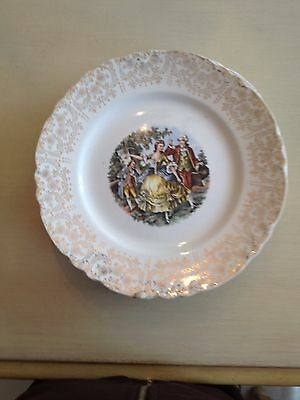 Vintage W.S. George Colonial Couple 22K Gold China Dinner Plates Set Of 6