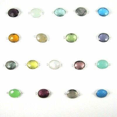 Bezel Gemstone Connectors - Sterling Silver 14x18mm Faceted Oval Shape (2 Pcs)
