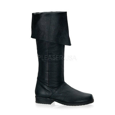 MAV8812/B/LE Men's Medieval Renaissance Pirate Black Leather Costume Knee Boots