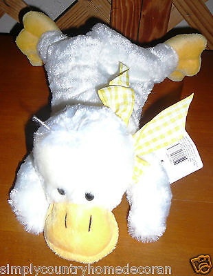 PLUSH~DUCK~Easter Decor~Off White & Yellow With Bow~Soft & Cuddly~NWT~FREE SHIP