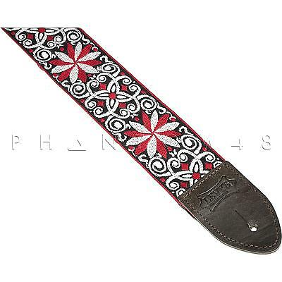 NEW Levy's Vintage Hootenanny Design Leather Brass Guitar/Bass Strap PATTERN 12