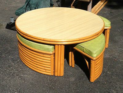 Antique 1930's Rattan Game Table Coffee Table 4 Hidden Chairs Ex. Condition
