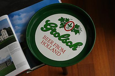 green white beer from holland round tray metal leaf big 33cm