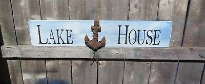 HP Lake House Wood Sign Anchor Coat Towel Hanger Hook Wall Decor Nautical