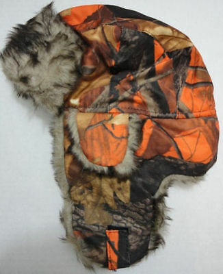 Orange Camouflage Hunter/Bomber Hat with Fur Ear Flaps