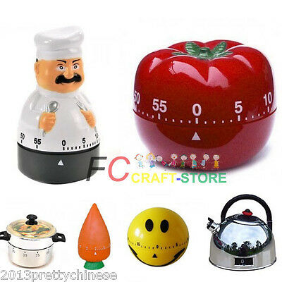Mini 60 Minute Kitchen Timer Mechanical Alarm Gadget Bell Time Cooking 11 Styles