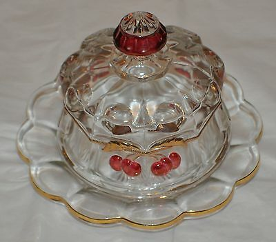 L.g. Wright Glass Amber Cherry Butter  Dish